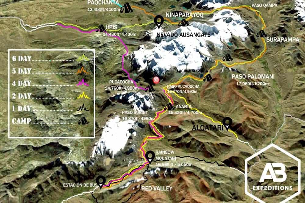 Ausangate Trek Map